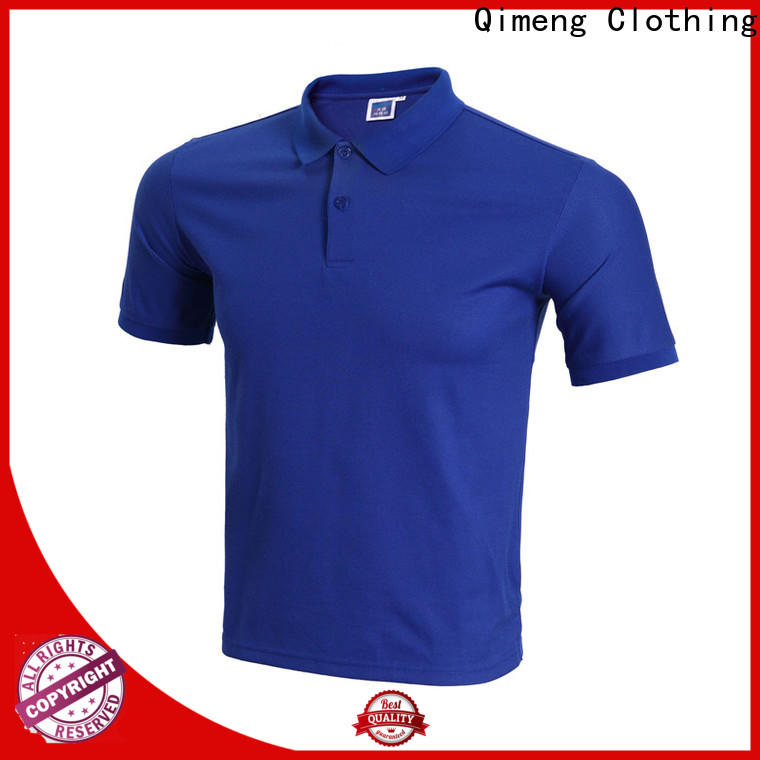 QiMeng poloneck 100% cotton polo shirts button design for business meetings