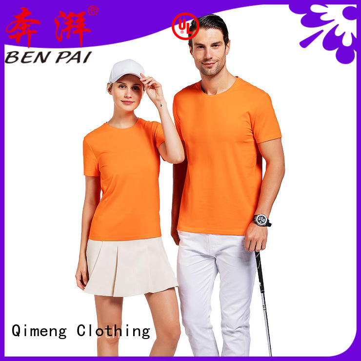 QiMeng promotional custom printed t shirts in different color for sports